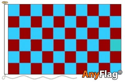 - CLARET AND SKY BLUE CHECK ANYFLAG RANGE - VARIOUS SIZES